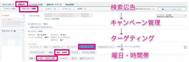 Yahoo!広告のスケジュール画面