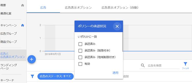 Google広告のポリシーの承認状況を選択する画面