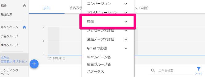 Google広告の属性を選択する画面