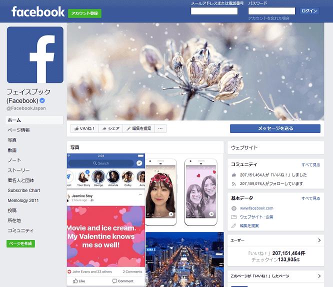 フェイスブックの画面